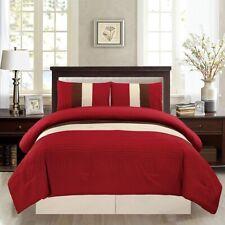 3Pc Burgundy Red Brown Beige Pin Tuck Regatta Down Alt Comforter Set Twin Size
