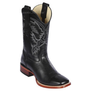 """Men's Los Altos Genuine Pull Up Leather Western Boots Wide Square Toe 11"""" Shaft"""