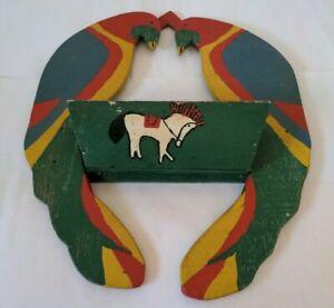 Antique Folk Art Wooden Matchsafe Wall Shelf Cigar Box Const w Parrots & Horse