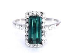Natural Blue Green Tourmaline Diamond 2.54 cttw Ring Neon Brazil 14K White Gold