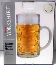 YORKSHIRE GIANT BEER STEIN 33 OUNCES ALL GLASS IN BOX