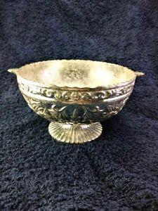 Silver plated - Metal Bowl - Little Handles - Cast Dec Flowers. 12.9 Oz