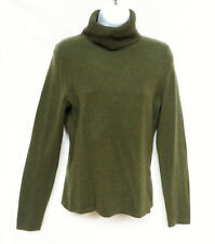 ONLY MINE Womens Green 2 Ply 100% Cashmere Turtleneck Soft Pullover Sweater S
