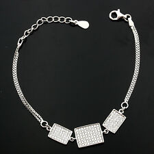Ladies Sterling Silver Oblong Micro Pave Set Cubic  Zirconia Bracelet GIFTBOXED