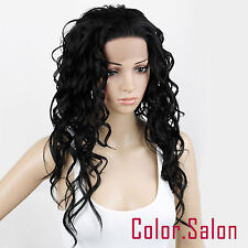 Hand Tied Lace Front Synthetic Full Wigs Long Curly Black 99#1B