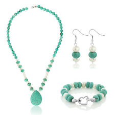 """20"""" Drop Shape Turquoise Howlite & Cultured Freshwater Pearl Necklace + Earrings"""