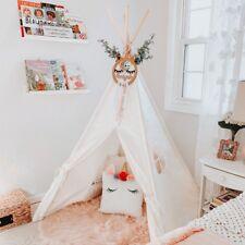 Tiny Land Tipi Enfant avec Tapis de Sol, Blanc Toile Enfants Jouent Tente