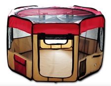 """45"""" Portable Dog Playpen Puppy Exercise Kennel Animal Outdoor Indoor Pet Pen Red"""