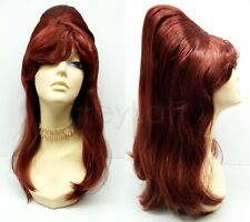 Bright Auburn Red Beehive Wig Long Costume 1960s Sixties Cosplay Adult 17""