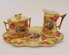 Antique Porcelain Creamer, Sugar and Tray, Romantic Scene, Men, Women, Cherubs
