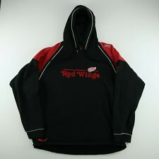 VTG Mens XL Reebok Detroit Red Wings NHL CCM Black Hoodie Face Off Embroidered