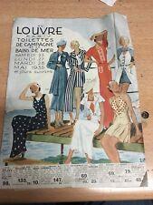CATALOGUE AU LOUVRE PARIS TOILETTE DE CAMPAGNE & BAINS DE MER 1935