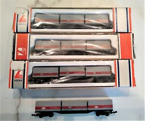 4 Lima N gauge Freightliner container wagons    good
