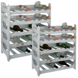 Weinregal aus Kunststoff stapelbar Flaschenregal modular erweiterbar granitgrau