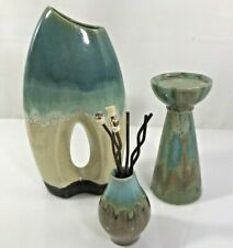 Teal Ceramic Hombre Glaze Pottery Set of 3 Hole Candle Bud Table Holder