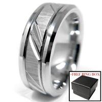 Silver Tungsten Carbide Ring Custom Cut Wedding Band Comfort Fit Mens Womens
