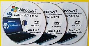HP Pavilion dv7-6c47cl Factory Recovery Media 3-Discs Set / Windows 7 Home 64bit