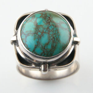 Beautiful Adjustable Signed Turquoise Sterling Ring