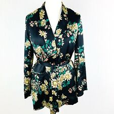 LOVE & OTHER THINGS Floral Black Satin Belted Blazer Jacket Medium 12 14 (F1)