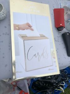 """Wedding Post Box White Gold """"Cards""""   Cards briefbox Envelopes Money Gifts"""