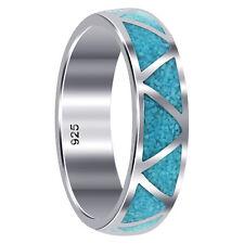 925 Silver Southwestern Style Turquoise Gemstone Inlay 6mm Wedding Band Ring