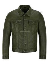 Mens Trucker Real Leather Jacket Olive Napa Western Fashion Biker Style 1280