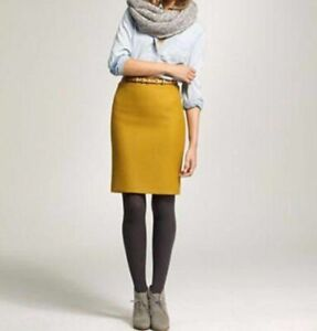 J.Crew No 2 Pencil Skirt Womens Size 12 Spicy Yellow Double Serge Wool Blend NWT