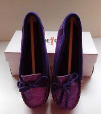 Minnetonka Girls Purple Glitter Mocassin - New - Sz 2 Youth