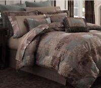 CROSCILL Galleria European Pillow Sham Euro Brown Teal metalic