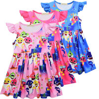 Lovely Baby Shark Dress Kids Girls Party Pageant Holiday Princess Dress 3-8Yrs