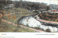 PEORIA ILLINOIS VIEW OF LAKE AT GLEN PARK LOOKING EAST POSTCARD c1907