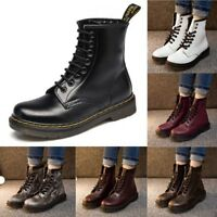 Women Martin Leather Boots Lace Up Retro High Top Shoes Punk Motorcycle Boot New