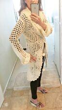 JALOUX Acrylic Mohair Blend Creamy White Lacey Knit Sweater Coat Belt Size M