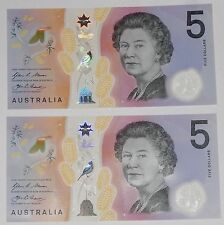 2016 Australia Stevens/Fraser $5 Polymer Banknote New Design - Consecutive Pair
