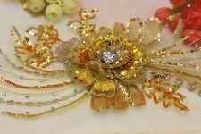 Single Gold  3D Sequin Applique Flower Motif  36 cm Dance Costume Stage Trim