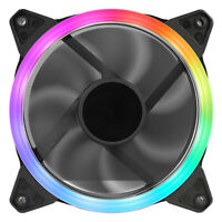 Rainbow RGB LED Halo Ring PC Case Cooling Fan 120mm (12CM) With 3 Pin And 4 Pin