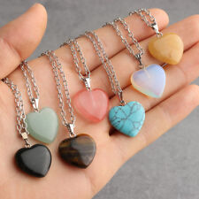 Heart Gemstone Rock Natural Quartz Crystal Healing Chakra Stone Pendant Necklace