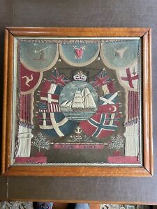Antique Ship Woolwork Embroidered Nautical Woolie Flag of Nations Isle Of Man