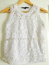 FRANCH CONNECTION WOMENS CROP TOP WHITE FLORAL LINED STRETCHY SZ 6
