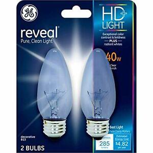 2- GE 48699 Reveal Ceiling Fan Clear 40-Watt Blunt Tip Medium Base Light Bulb