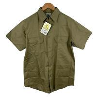Hard Yakka Mens Button Up Shirt One Size Large Khaki Green Short Sleeve Collared