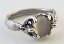 EGYPTIAN Moon GODDESS Ring .925 Sterling Silver Sz 8 w/ Genuine Moonstone