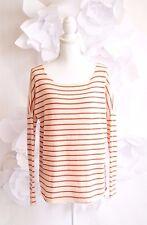 VINCE Striped Dolman Cashmere Shirt Tail Tunic Sweater Sz Medium Orange/Cream LS