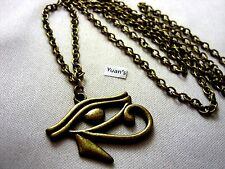 "A Bronze Style Egyptain Eye of Ra Charm Pendant, Long ( 30"" ) Chain Necklace"