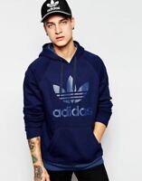 adidas ORIGINALS TREFOIL 3 FOIL HOODIE NAVY BLUE S M L XL PULLOVER WARM WINTER