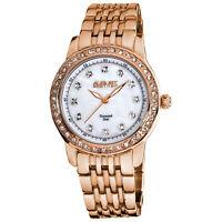 Women's August Steiner AS8045RG Genuine Diamond Dial Marker Crystal Bezel Watch