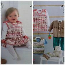 Knitting Pattern Bambino Grembiulino dress Giacca Canotta e Cappello King Cole DK 4804