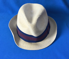 Paper Trilby Style Hat Beige with Band Headwear 57cms