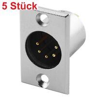 Audio Mikrofon Einbaukupplung Einbaubuchse 5polig Stifte Stecker zum Einbau Pin