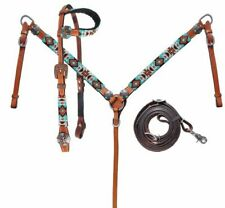 Western Saddle Horse Beaded Leather Tack Set Headstall Bridle w/ Breast Collar